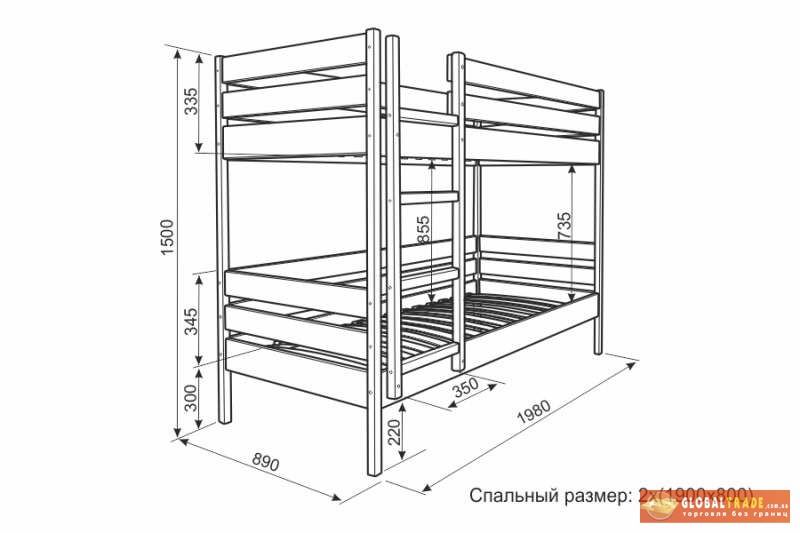 Двухъярусная кровать фото размеры - Онлайн курсы